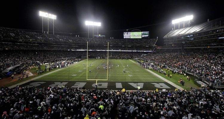 Photo of a general view at Oakland Alameda County Coliseum during the second half of an NFL football game