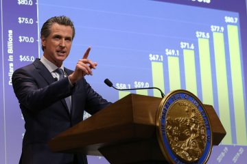 Photo of Gavin Newsom talking about California budget