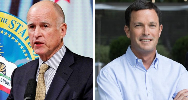 Photo combination of Jerry Brown and Jay Sures