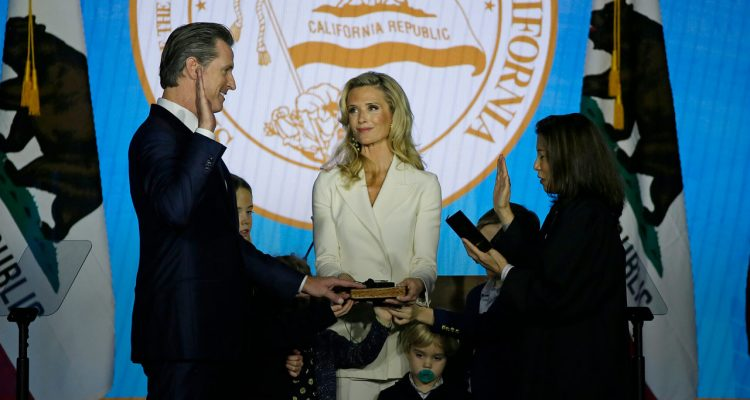 Photo of Gavin Newsom's swearing-in as California governor