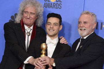 Photo of Roger Taylor, Rami Malek, and Brian May