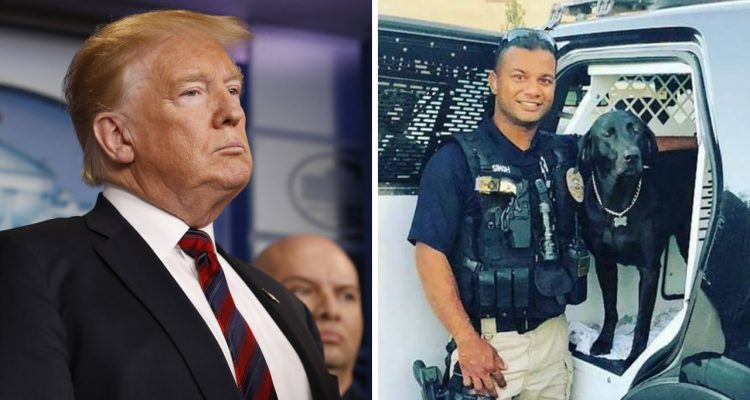President Trump, left, talked to the wife of slain police officer Rongil Singh