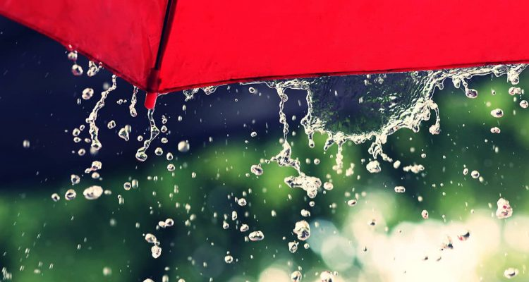 Photo of red umbrella and rain