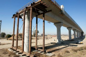 Photo of high-speed rail construction in Fresno, California