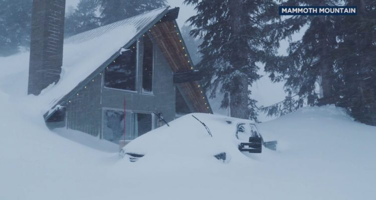 Snow piled nearly roof high at California's Mammoth Mountain