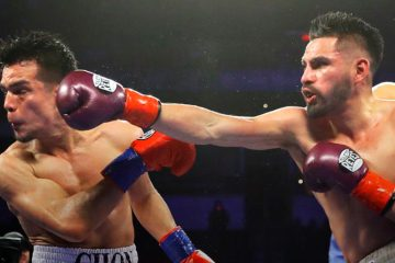 Jose Ramirez lands a punch to the face of challenger challenger Jose Zepeda