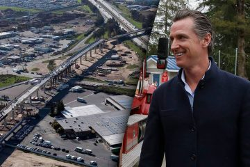 Composite photos of high-speed rail construction in south Fresno and Gov. Gavin Newsom