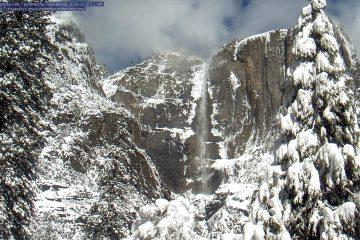 View of Snowy Yosemite Falls on Wednesday, Feb. 6, 2019