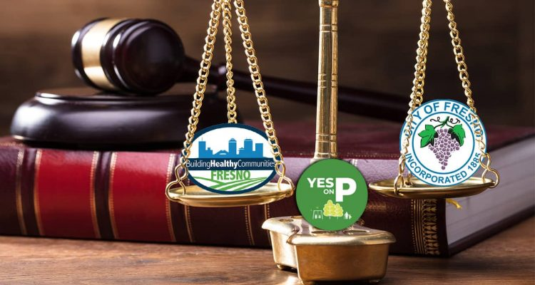 Illustration of scales of justice with city of Fresno and Measure P logos