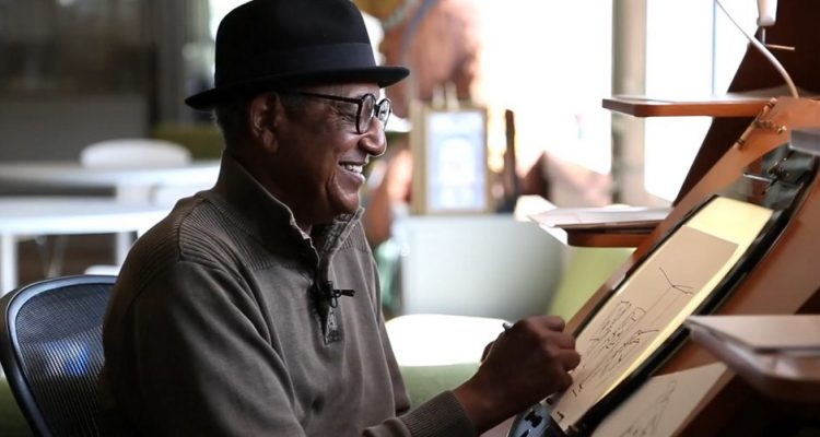 Picture of Floyd Norman sketching