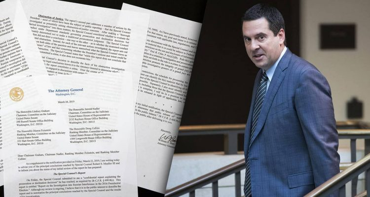 Composite illustration of AG Barr's summary of the Mueller Report and a photo of Rep. Devin Nunes