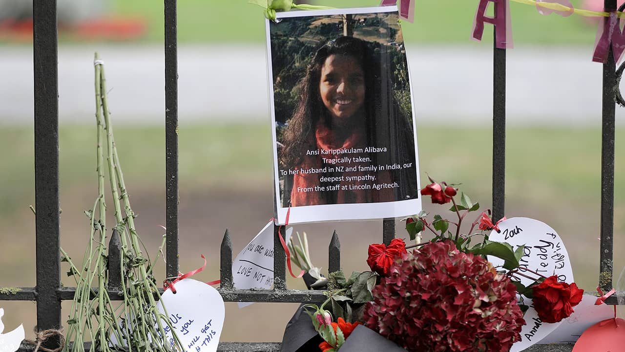 Photo of tribute to one of the victims of the mosque shooting
