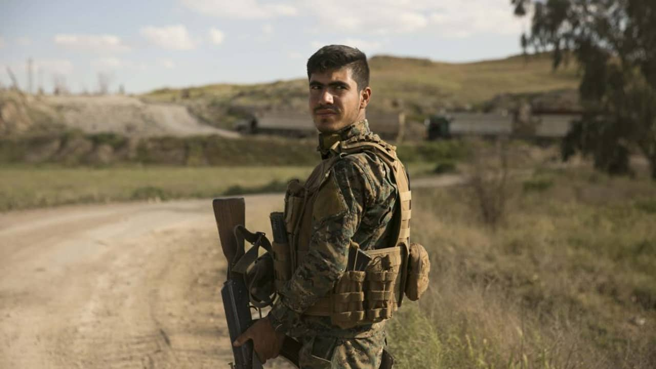Photo of a U.S.-backed Syrian Democratic Forces (SDF) fighter