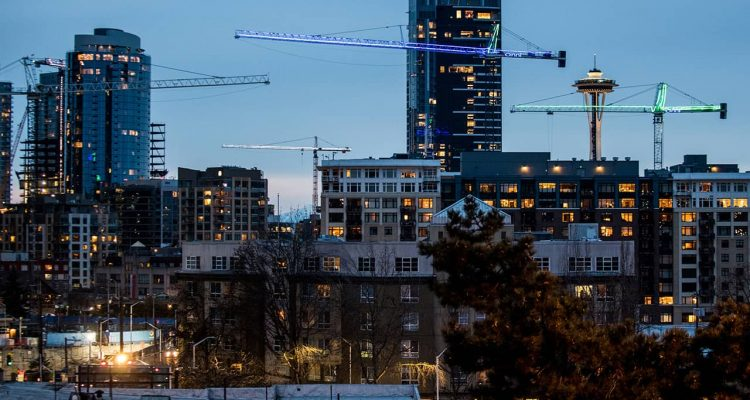 Photo of cranes in the Seattle skyline