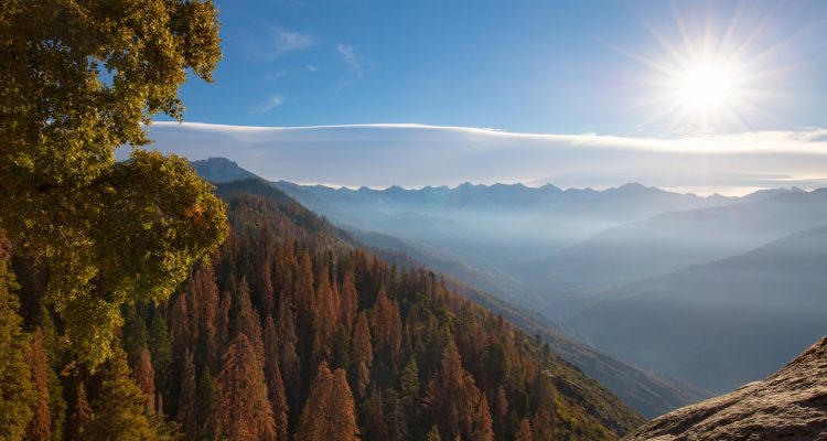 Photo of sunrise at Moro Rock in Sequoia National Park