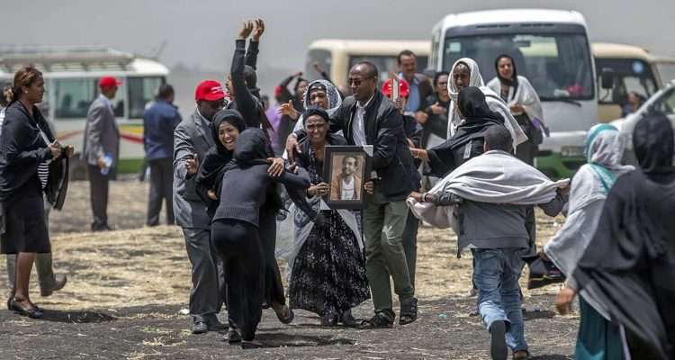 Photo of families of the victims of the Ethiopian Airlines plane crash