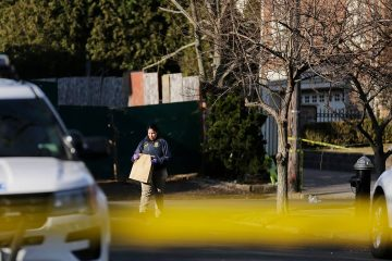 Photo of the scene where an alleged leader of the Gambino crime family was shot and killed
