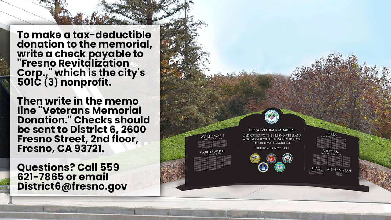 How to donate graphic with rendering of Fresno Veterans Memorial
