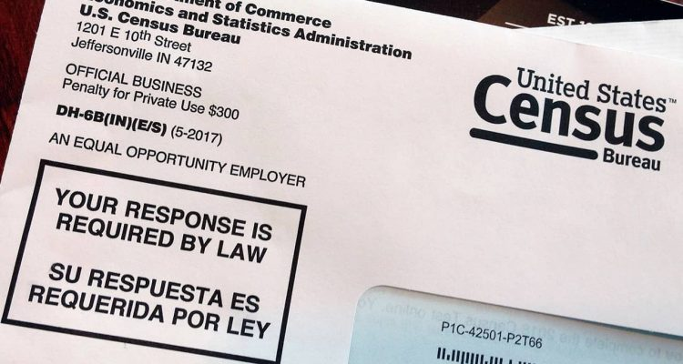 Photo of envelope containing a 2018 census letter