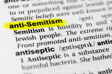 """Photo of the word """"antisemitism"""" in a dictionary"""