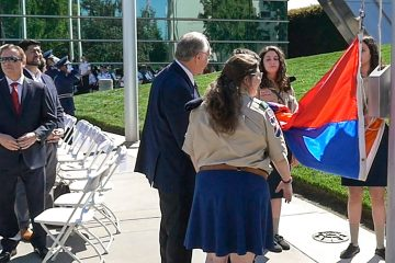 Flag raising ceremony at Fresno City Hall to commemorate Armenian Genocide