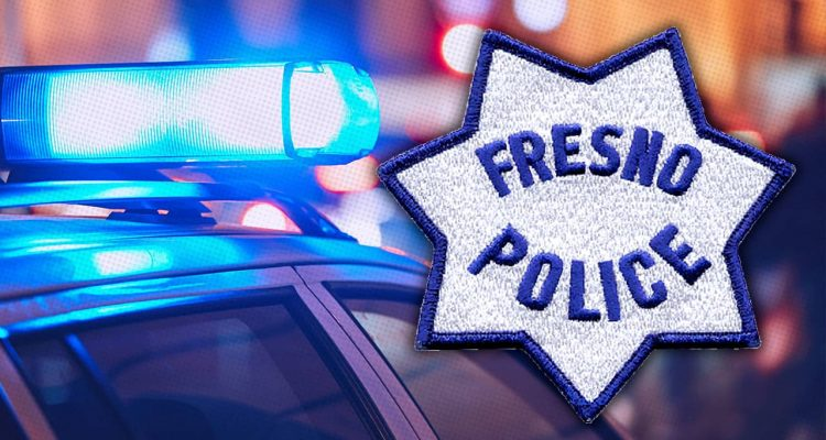 Composite image of patrol car and Fresno Police patch