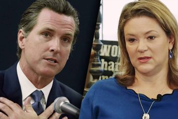Photo combination of Gov. Gavin Newsom and Lisa Smittcamp