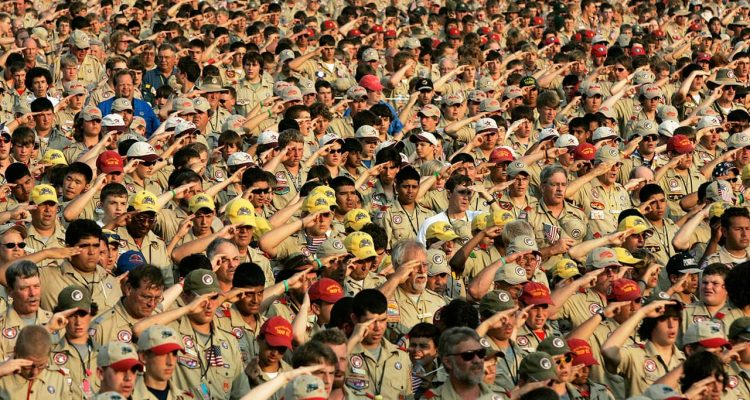 Photo of boy scouts saluting