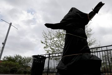 Photo of covered Kate Smith statue