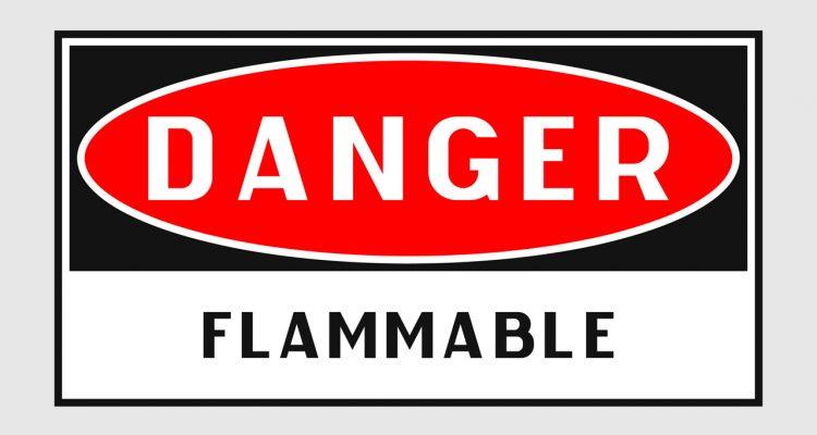 Sign reading: Danger Flammable