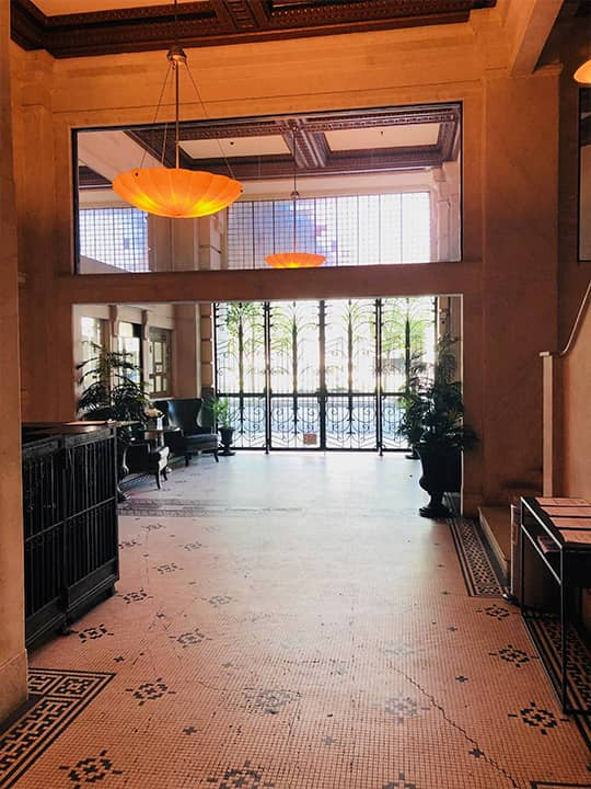 Photo of the lobby of a Los Angeles condo building