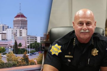 Composite photo illustration of downtown Fresno and police chief Jerry Dyer