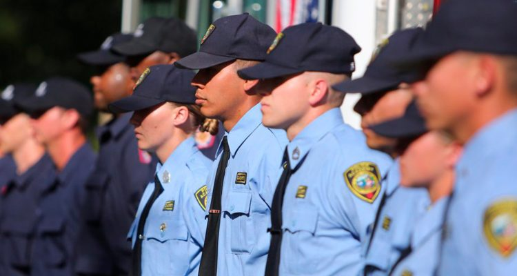 Image of cadets in formation at the Fresno City College police academy