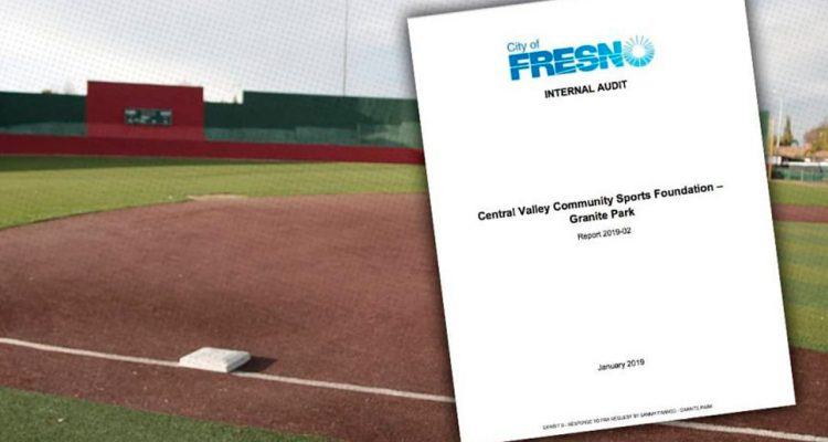Composite of audit documents and a playing field at Granite Park.
