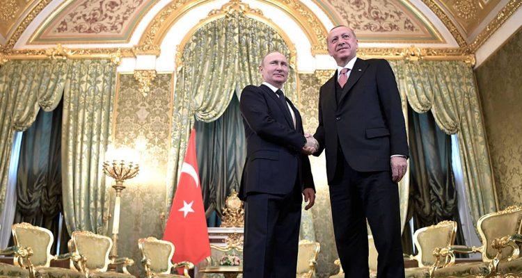 Photo of Russian President Vladimir Putin, left, and Turkish President Recep Tayyip Erdogan