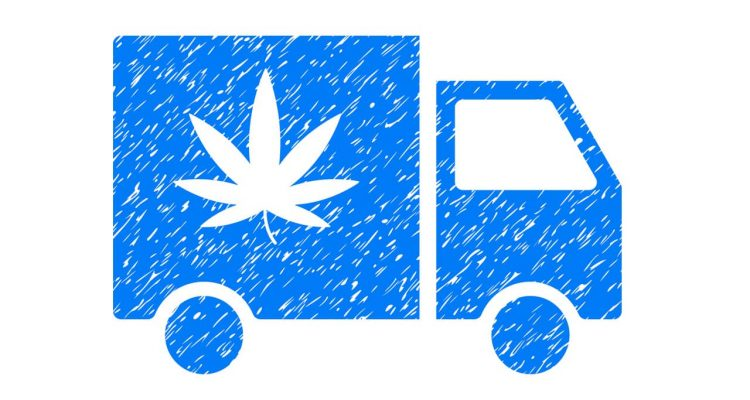 Illustration of cannabis delivery truck