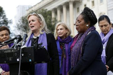 Photo of Rep. Debbie Dingell, D-Mich., Rep. Barbara Lee, D-Calif., and Sheila Jackson Lee, D-Texas