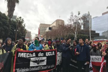 Photo of anti-Trump protest by members of MECHa de UCLA