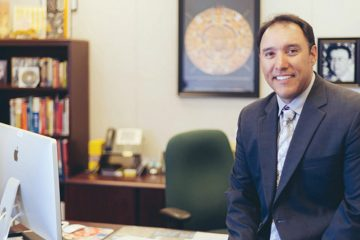 Photo of Matt Navo in his office at Sanger Unified School District