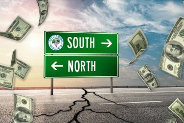 Composite illustrating the tug-o-war between north and south Fresno over street funding