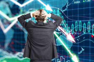 Composite photo of a worried investor starting at market returns