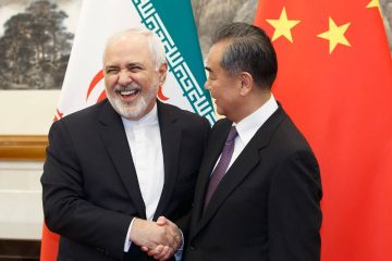 Photo of Chinese Foreign Minister Wang Yi meeting Iranian Foreign Minister Mohammad Javad Zarif