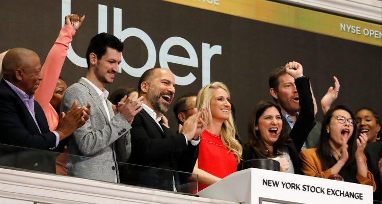 Photo of Uber CEO attending the opening bell ceremony