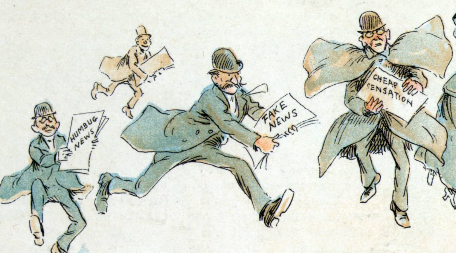 """Illustration of reporters with """"Fake News"""""""