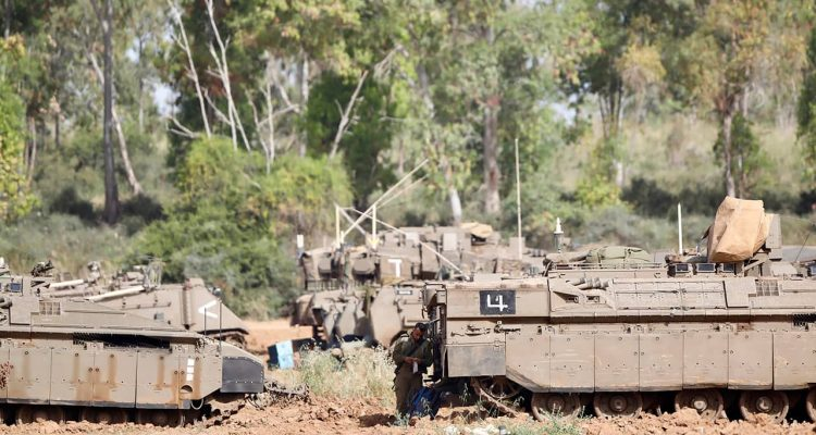 Photo of Israeli soldier standing at a gathering point