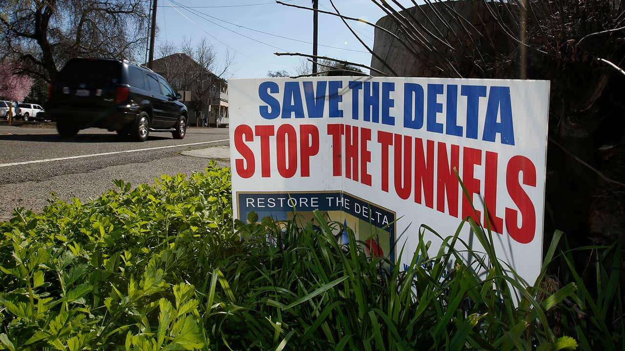 "Photo of a sign that says ""Save the Delta"""