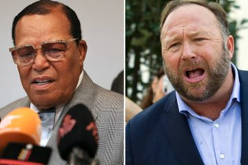 Photo of Louis Farrakhan, the leader of the Nation of Islam, in Tehran, Iran, on Nov. 8, 2018, left, and conspiracy theorist Alex Jones in Washington