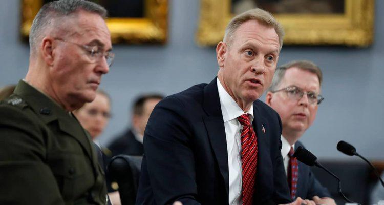 Photo of Joint Chiefs of Staff Chairman Gen. Joseph Dunford, left, Acting Defense Secretary Patrick Shanahan, and Acting Deputy Secretary of Defense David Norquist