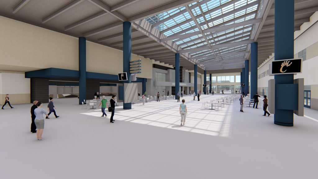 Rendering of new Central Unified high school indoor mall