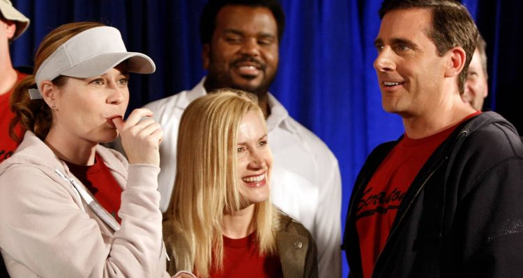 Photo of Jenna Fischer, Angela Kinsey, Craig Robinson, and Steve Carell